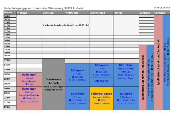 Trainingszeiten 'Limeshalle' Wiesenweg, 56337 Arzbach
